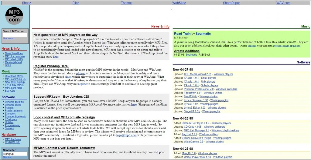 A screenshot of how mp3.com looked in 1998.