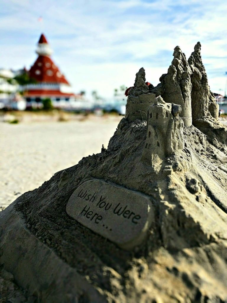 Sand castle with the Hotel Del Coronado in the background, December 2016